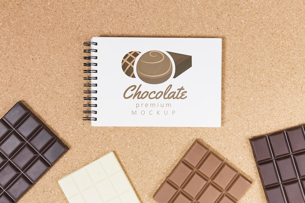 Maqueta de concepto de chocolate delicioso