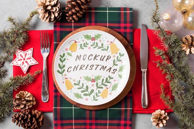 Maqueta de concepto de comida navideña