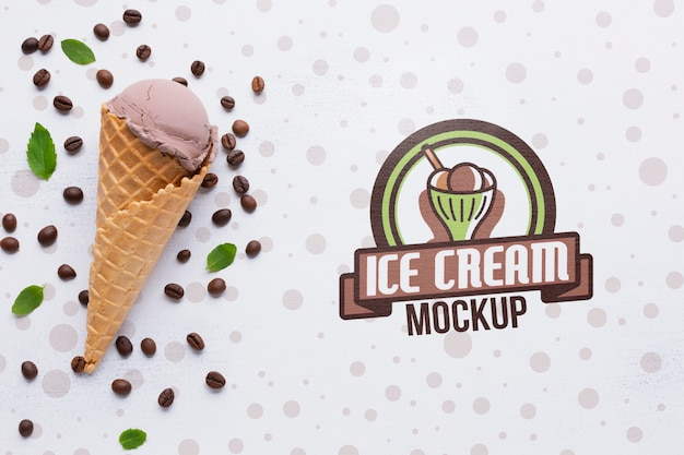 Maqueta de concepto de delicioso helado
