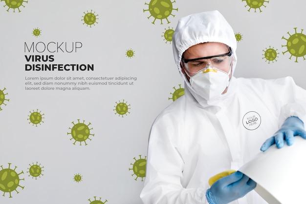 Maqueta del concepto de desinfección de virus