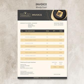 Maqueta de concepto de factura de restaurante de comida cambiante