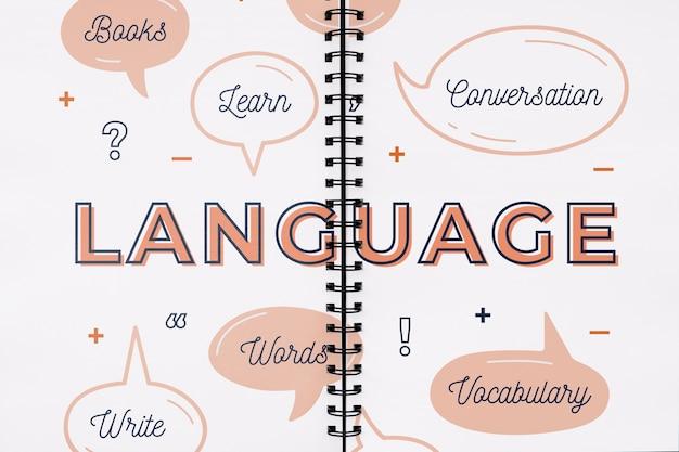 Maqueta con concepto de idiomas
