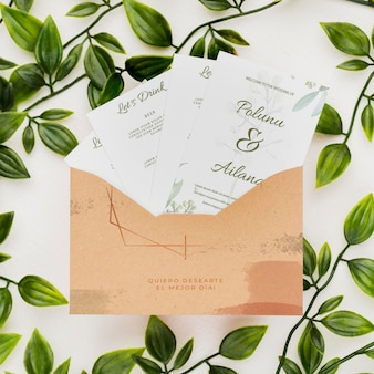 Maqueta de concepto de invitación de boda
