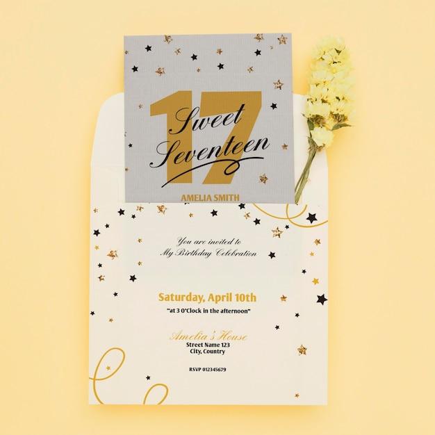Maqueta de concepto de invitación de cumpleaños