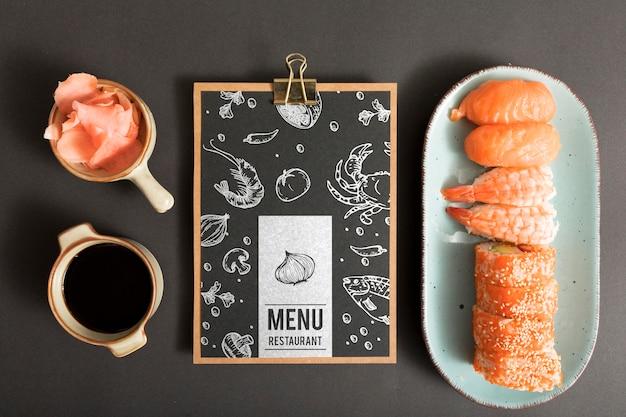 Maqueta de concepto de menú de comida de sushi
