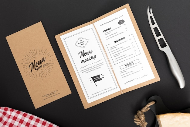 Maqueta del concepto de menú de comida