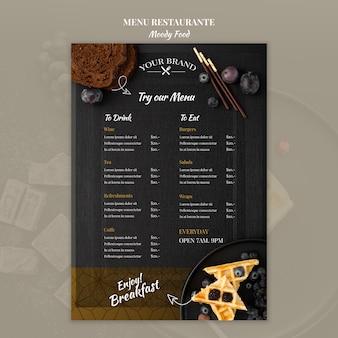 Maqueta de concepto de menú de restaurante de comida cambiante