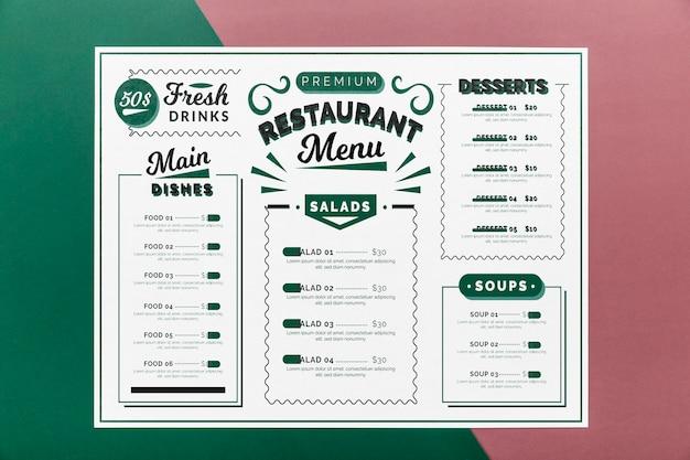 Maqueta de concepto de menú de restaurante
