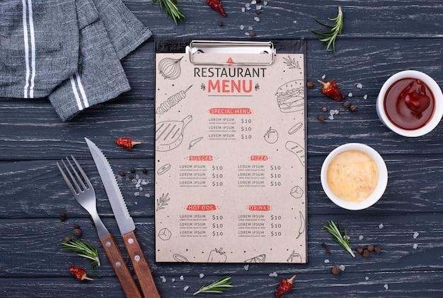 Maqueta del concepto del menú del restaurante
