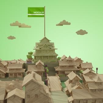 Maqueta de concepto de modelo de edificios del día mundial de las ciudades