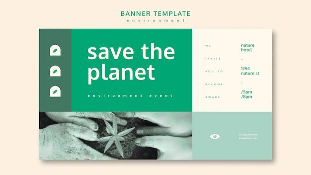 Maqueta de concepto de plantilla de banner de medio ambiente