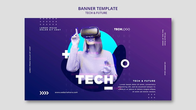 Maqueta de concepto de plantilla de banner técnico y futuro