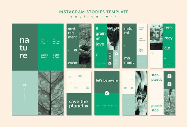 Maqueta de concepto de plantilla de historias de instagram de medio ambiente