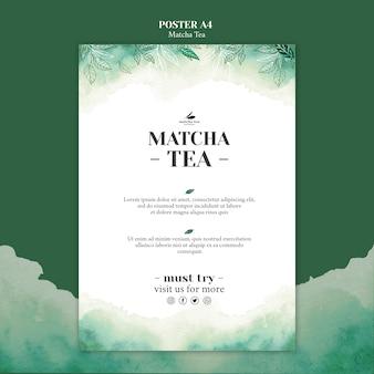 Maqueta de concepto de póster de té matcha