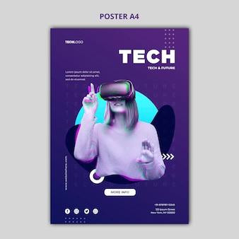 Maqueta de concepto de póster técnico y futuro