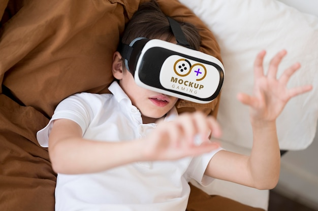 Maqueta de concepto de tecnología y niños