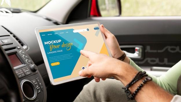 Maqueta de concepto de viaje en coche