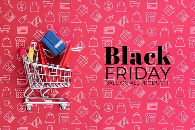 Maqueta de concepto de viernes negro sobre fondo liso