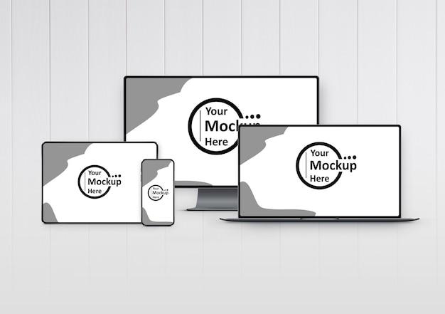 Maqueta de conjunto de dispositivos digitales