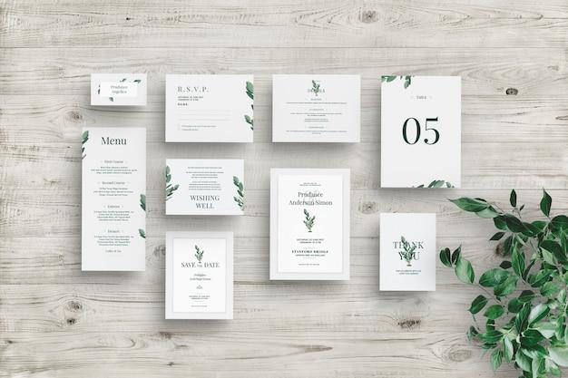Maqueta de conjunto de invitación de boda