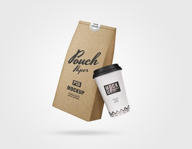 Maqueta de conjunto de marca de café