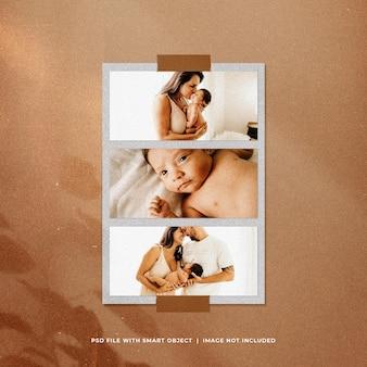 maqueta del conjunto de marcos de fotos del día de la madre con efecto polvo