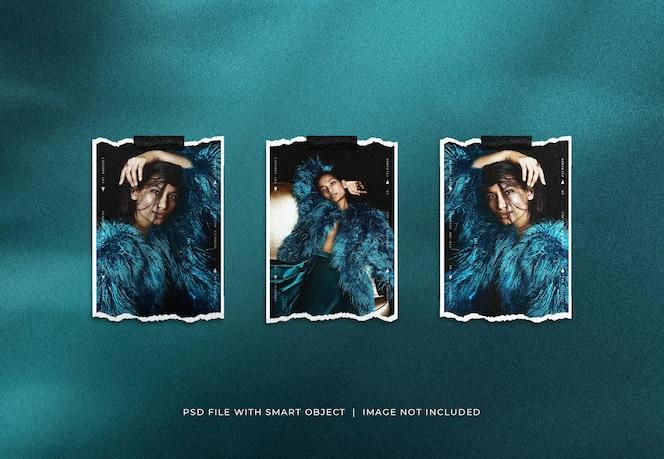 Maqueta de conjunto de marcos de fotos de retrato polaroid rasgado con superposición de sombras
