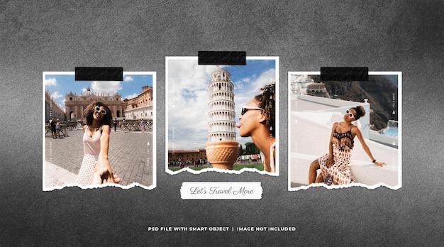 Maqueta de conjunto de marcos de fotos de viaje