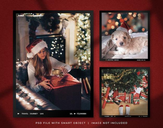 Maqueta de conjunto de marcos de fotos vintage navideños
