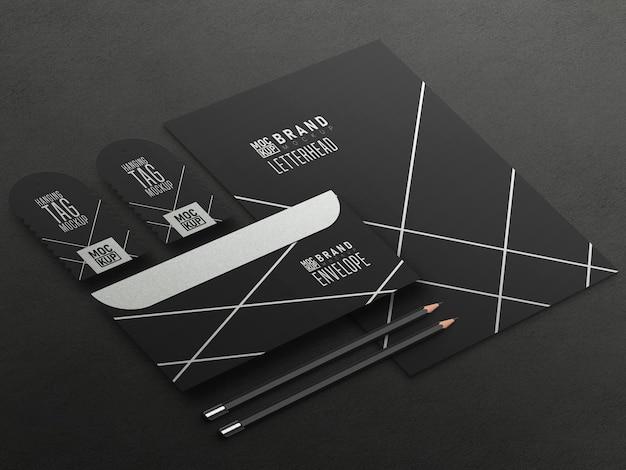 Maqueta de conjunto de papelería en perspectiva