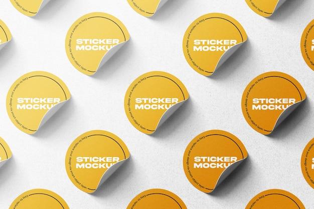 Maqueta de conjunto de pegatinas redondas