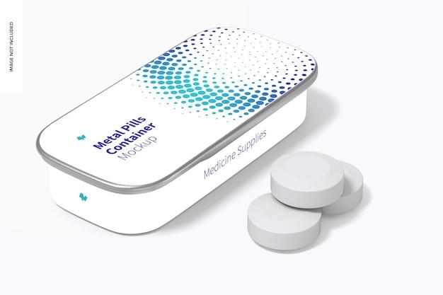 Maqueta de contenedor de pastillas de hojalata con tapa deslizante de metal