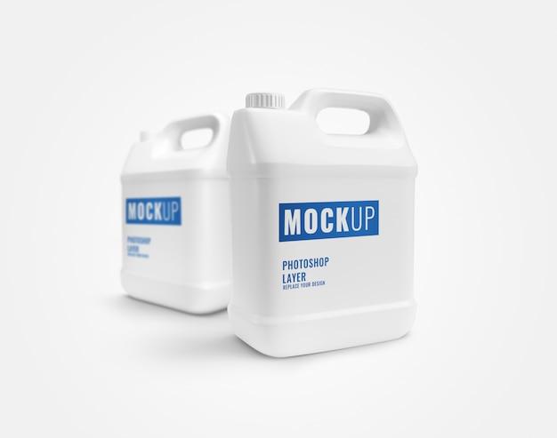 Maqueta de contenedores de galones blancos