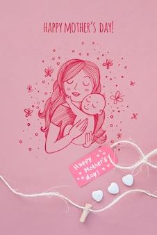Maqueta de copyspace con composición flat lay del día de la madre