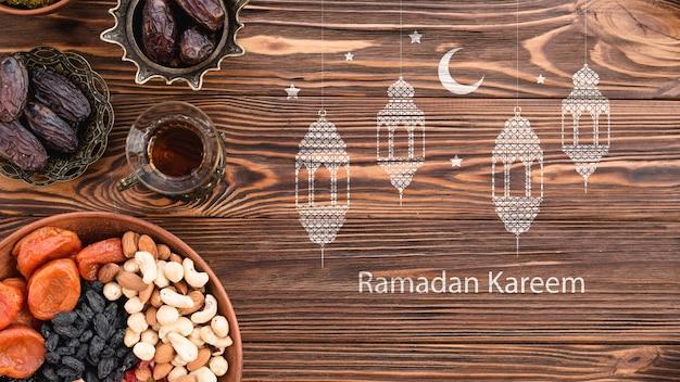 Maqueta de copyspace con concepto de ramadan
