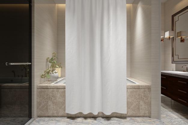 Maqueta de cortina de baño