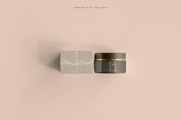 Maqueta cosmética de tarro y caja