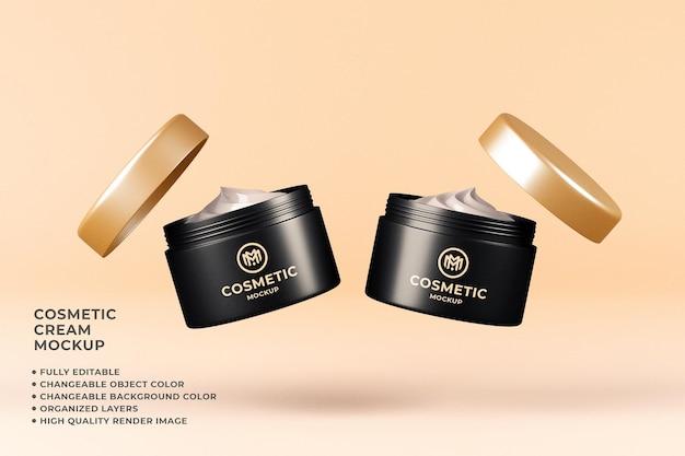 Maqueta de crema cosmética color editable flotante 3d render
