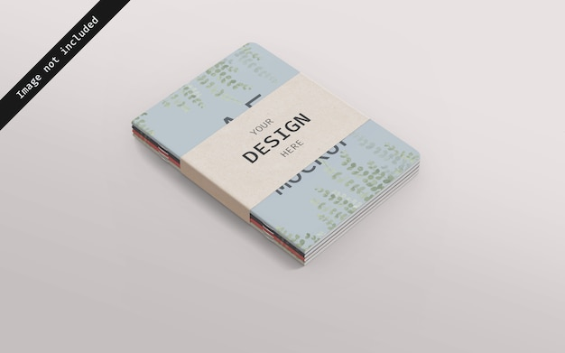 Maqueta de cuaderno apilada con cartón