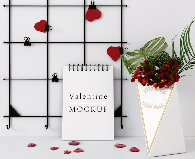Maqueta de cuaderno espiral con concepto de san valentín