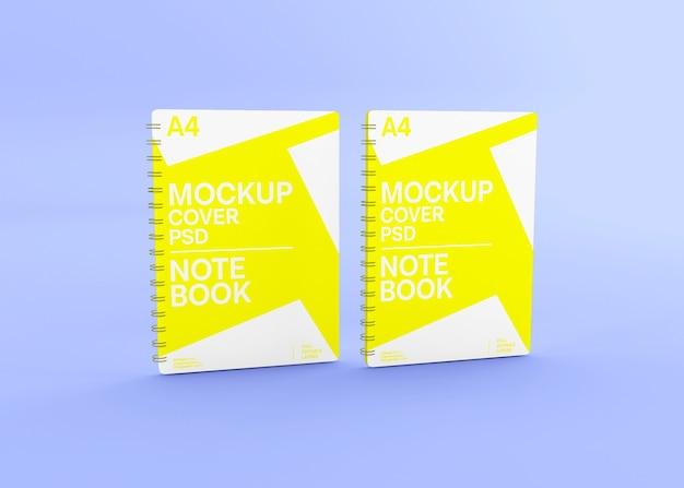 Maqueta de cuaderno de tapa dura espiral realista