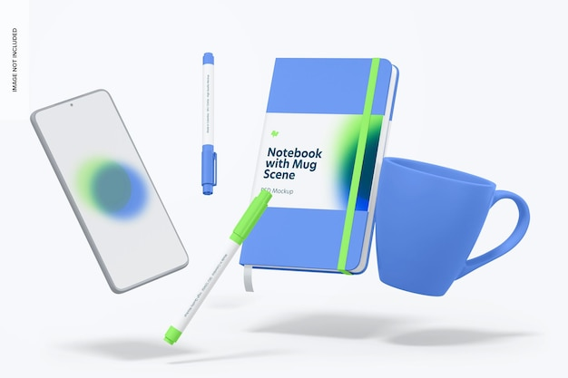 Maqueta de cuaderno con taza, flotante