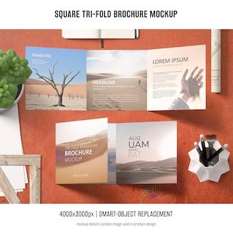 Maqueta cuadrada de folleto tríptico