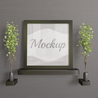 Maqueta cuadrada de marco negro en el escritorio de pared de madera. maqueta simple moderna y minimalista
