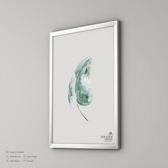 Maqueta de cuadro de marco aislado en pared