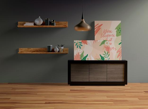 Maqueta de cuadros colgada en la pared