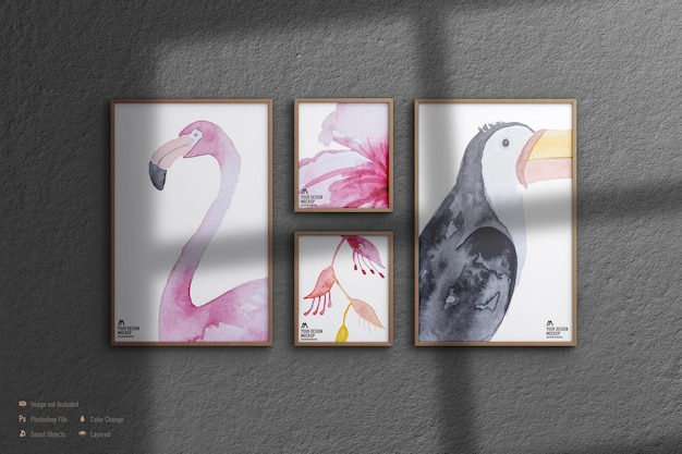Maqueta de cuadros de marco aislado en la pared
