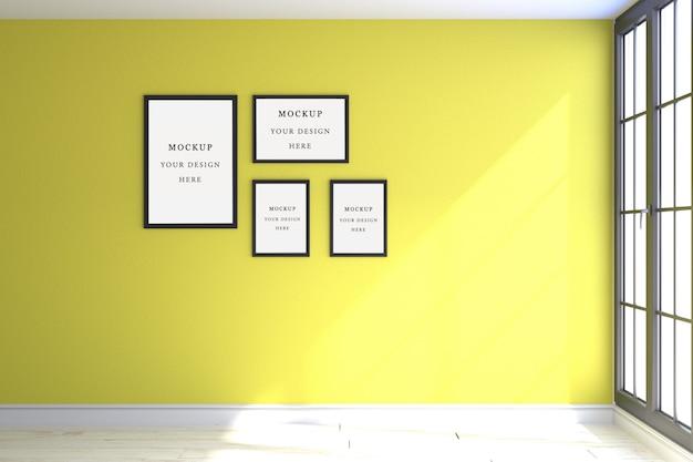Maqueta de cuatro marcos amarillo.