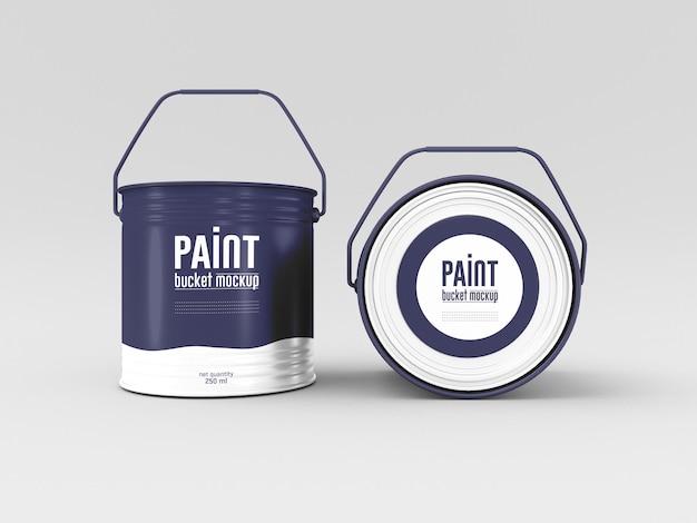 Maqueta de cubo de pintura de metal