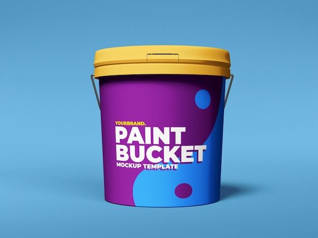 Maqueta de cubo de pintura de plástico